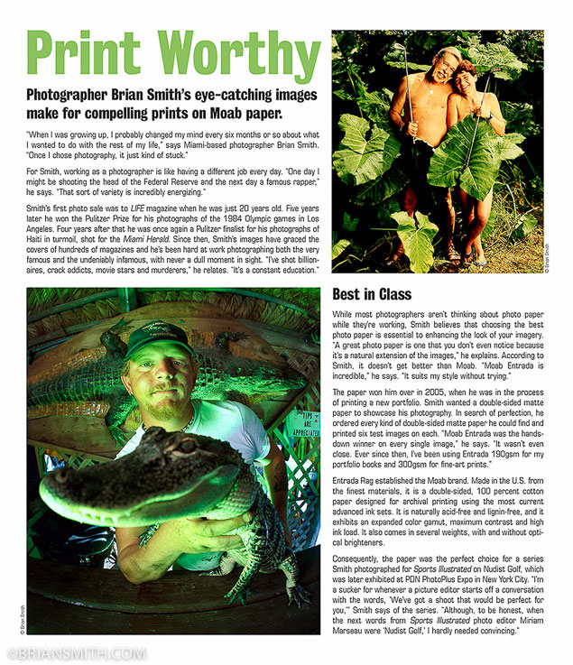 Miami portrait photographer Brian Smith in Moab Paper advertorial