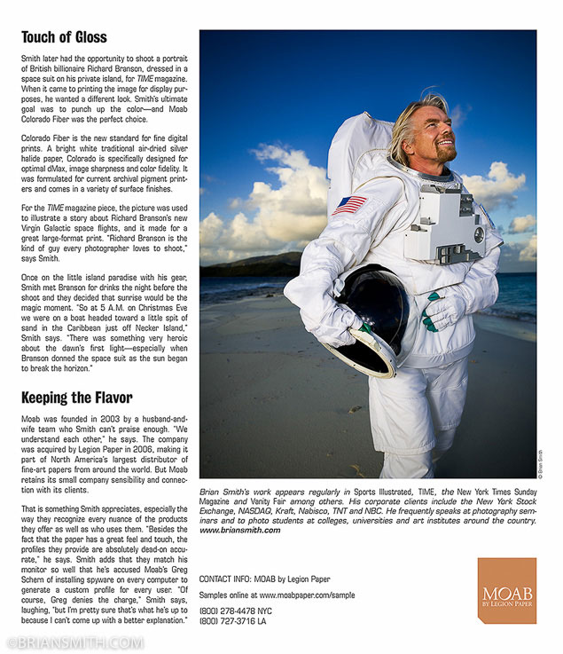 Celebrity portrait photographer Brian Smith in Moab Paper advertorial