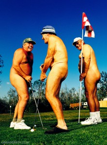 fine art photography of nude golfers