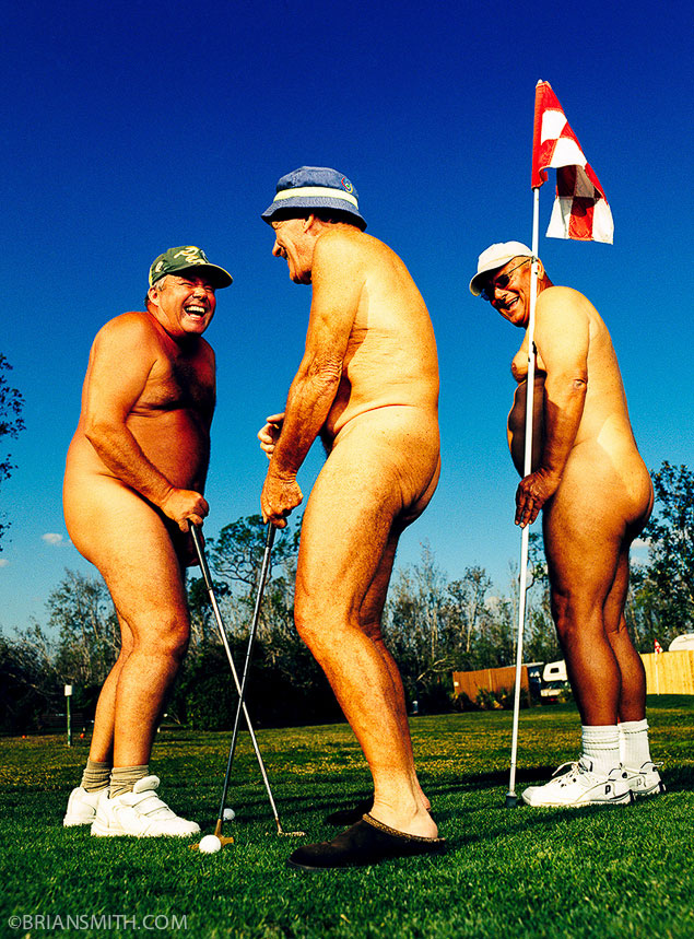 fine art photography of nude golfers