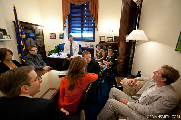 Alfre Woodard, Tim Daly, Dana Delany and Matthew Modine of The Creative Coalition meeting with Senator Mark Begich.