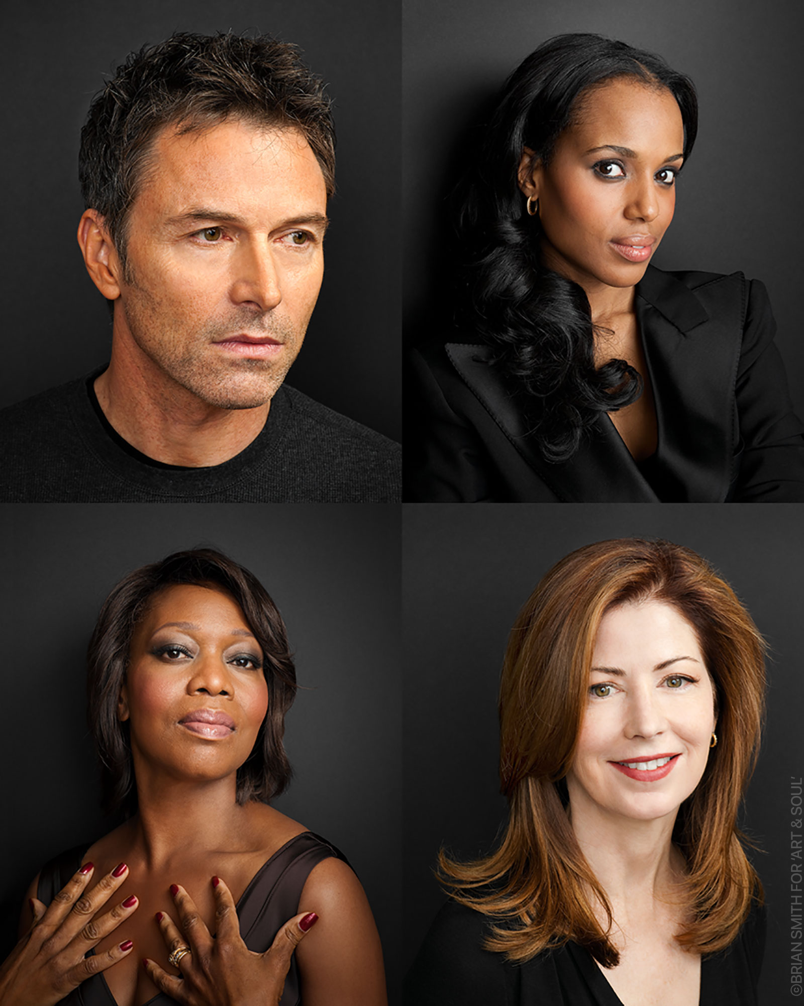 celebrity portraits of Tim Daly, Kerry Washington, Alfre Woodard and Dana Delaney photographed for Art & Soul