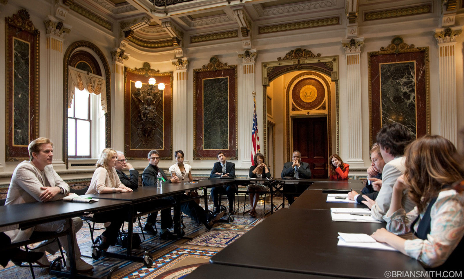The Creative Coalition members meet with Kareem Dale, White House Arts Liaison at The White House Eisenhower Office Building