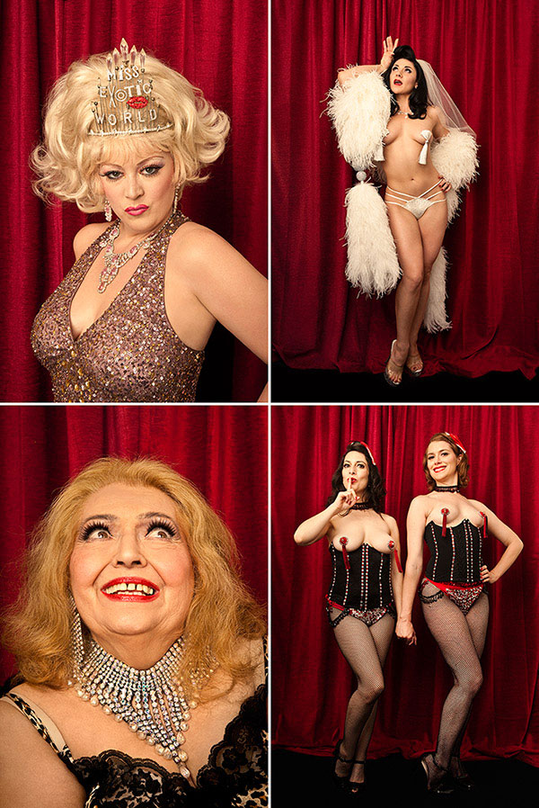 Burlesque Dancers Dirty Martini, Roxi Dlite, April March and the Chicago Starlets at Exotic World's Burlesque Hall of Fame Weekend