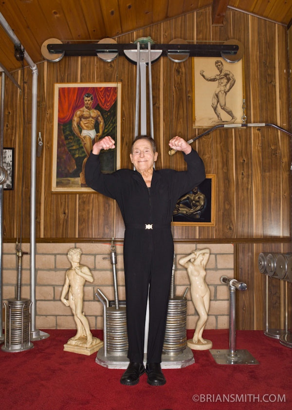 Fitness legend Jack La Lanne with his patented fitness equipment in his home gym