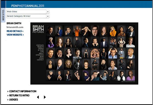 PDN Annual honors award-winning website of Miami portrait photographer Brian Smith