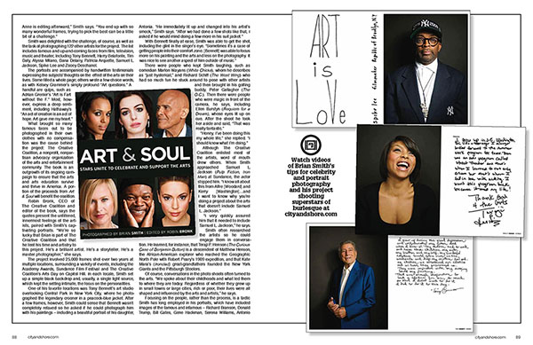 Celebrity Portrait Photographer Brian Smith's Art & Soul book in City and Shore