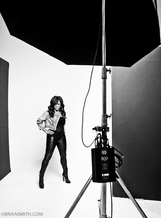 B&W Celebrity portraits of Stacy Francis photographed for The X Factor