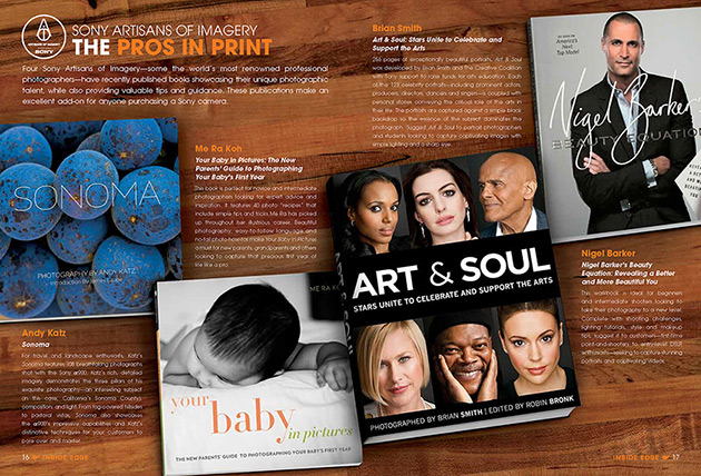 Art & Soul celebrity portrait photography featured in Inside Edge magazine
