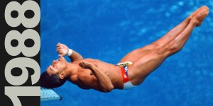 Greg Louganis hits his head on the diving board at the 1988 Seoul Olympic Games