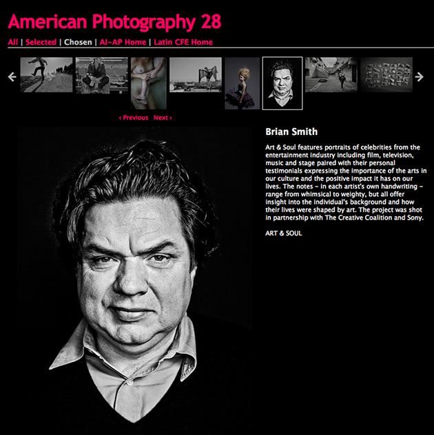 Oliver Platt by Brian Smith chosen for American Photography Awards