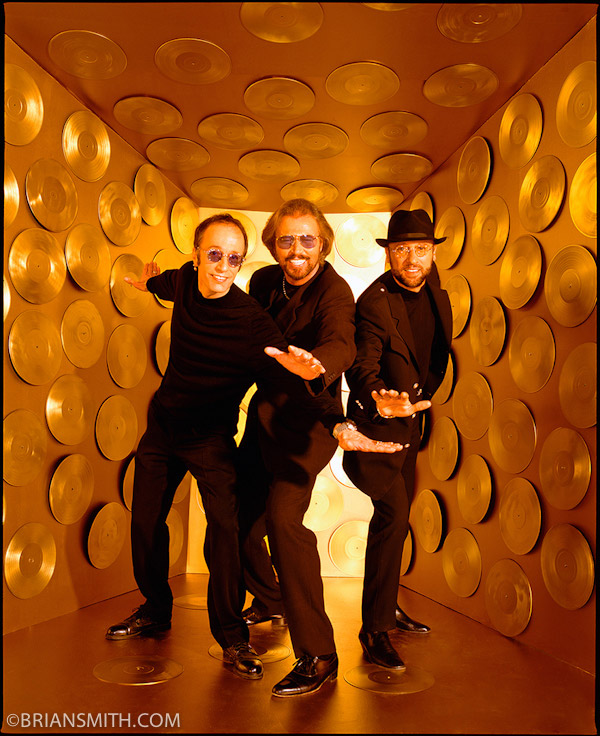 conceptual celebrity portrait photography of The Bee Gees
