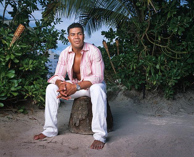 NFL All-Pro linebacker Junior Seau photographed at Nikki Beach Club on Miami Beach for Ocean Drive magazine