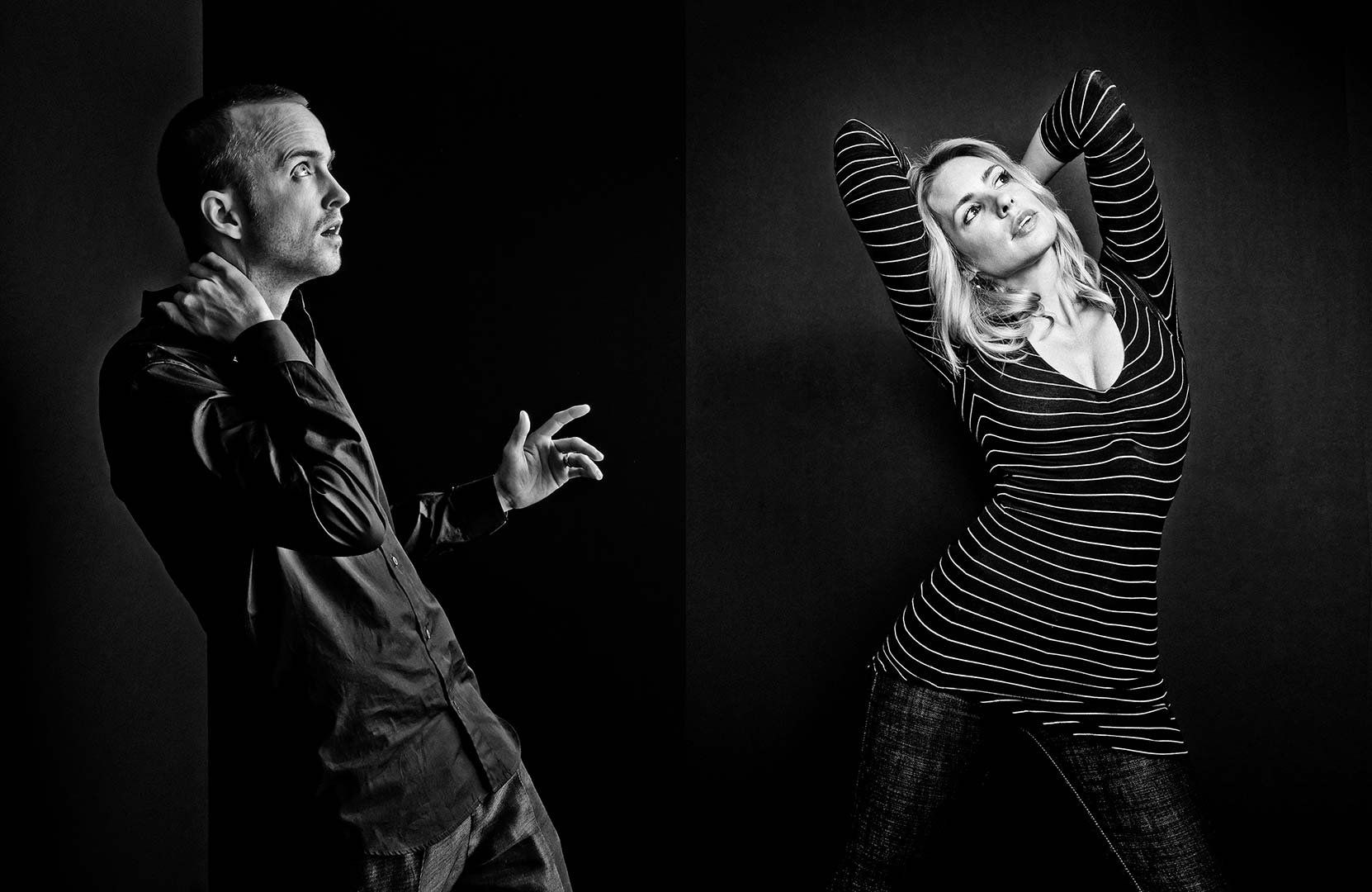 black & white portraits of actors Aaron Paul and Olivia D'Abo