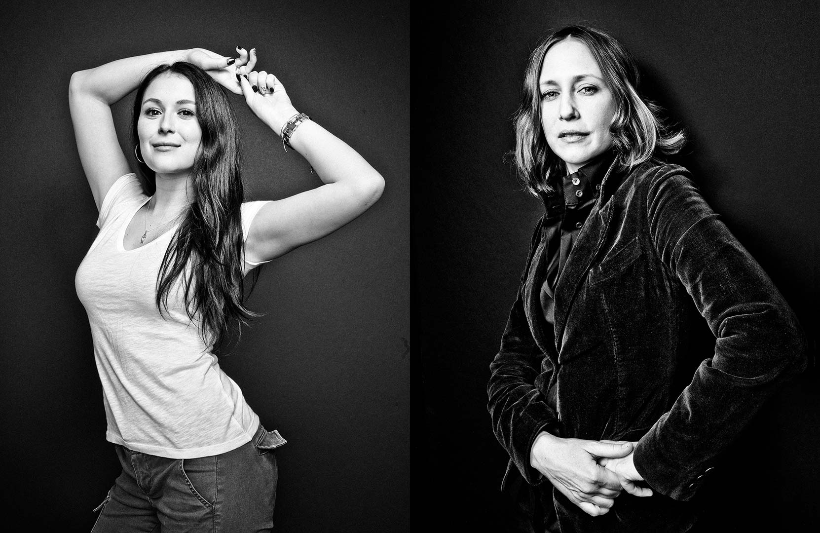 black & white portraits of actresses Alexa Vega and Vera Farmiga