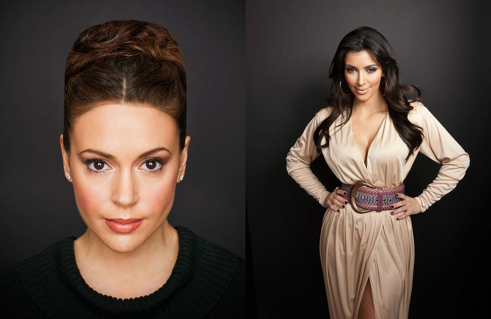 Celebrity portrait photography of Alyssa Milano and Kim Kardashian