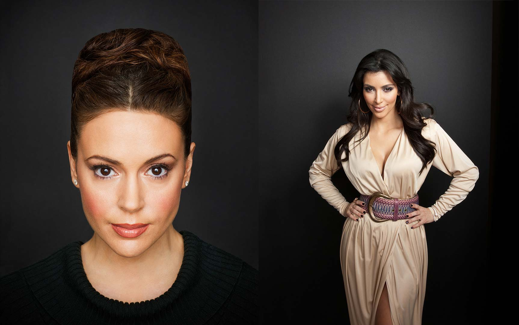 celebrity portrait phoptography of Alyssa Milano and Kim Kardashian