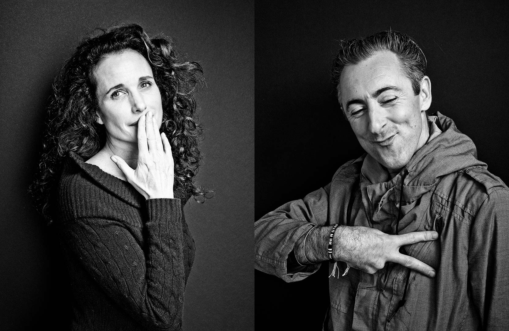 black & white portraits of actors Andie MacDowell and Alan Cumming
