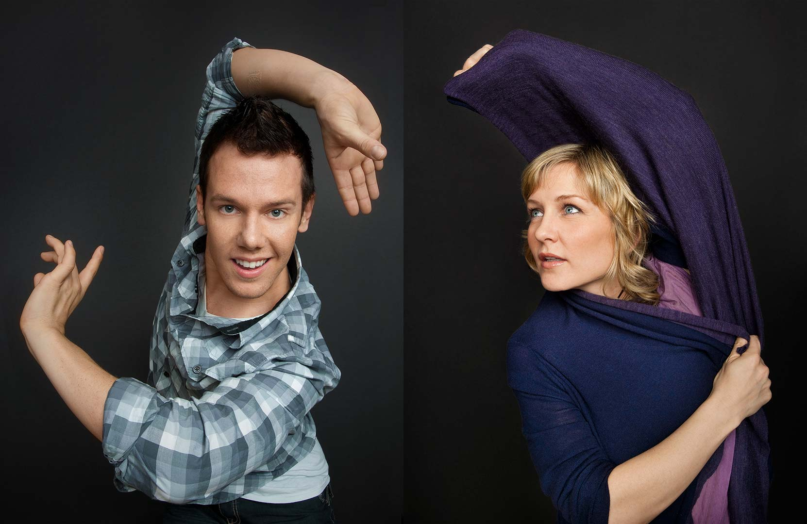 Celebrity portrait photography of Benji Schwimmer and Amy Carlson