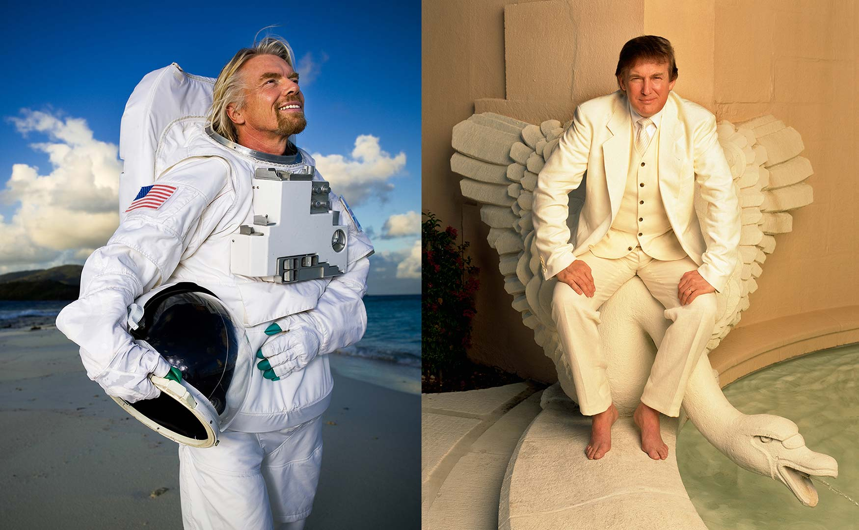 business photography of richard branson and donald trump