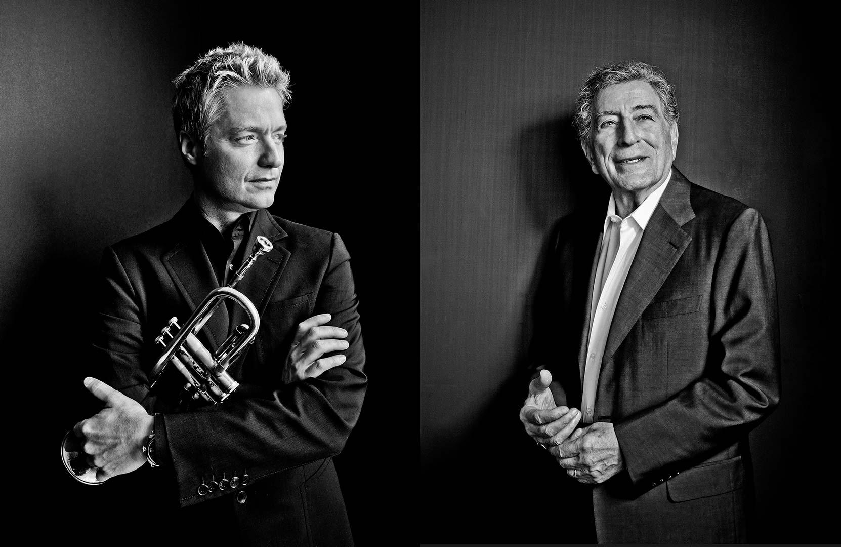 black & white portraits of Chris Botti and Tony Bennett