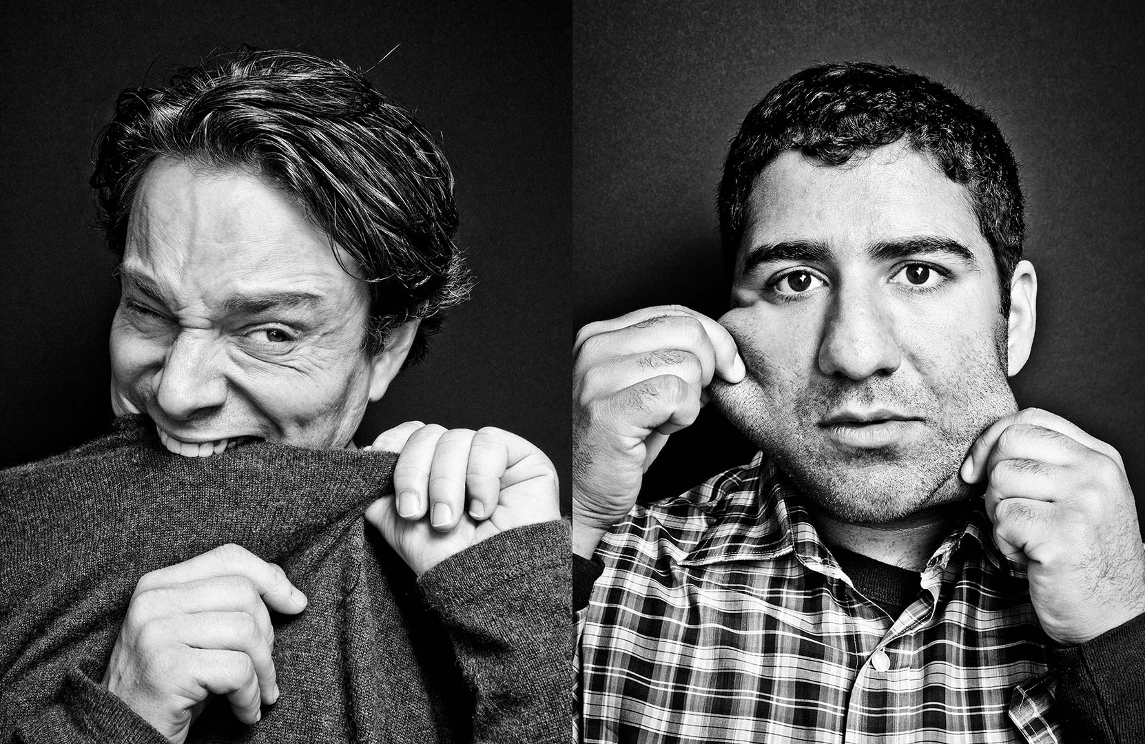 black & white portraits of actors Chris Kattan and Parvesh Cheena