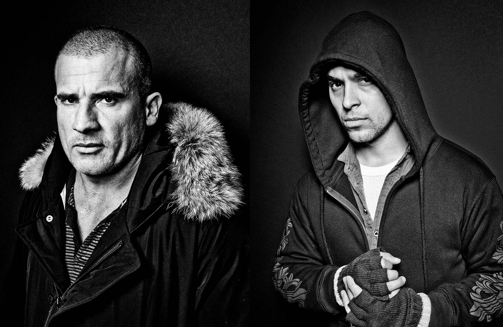 black & white portrait photography of actors Dominick Purcell and Wilmer Valderama