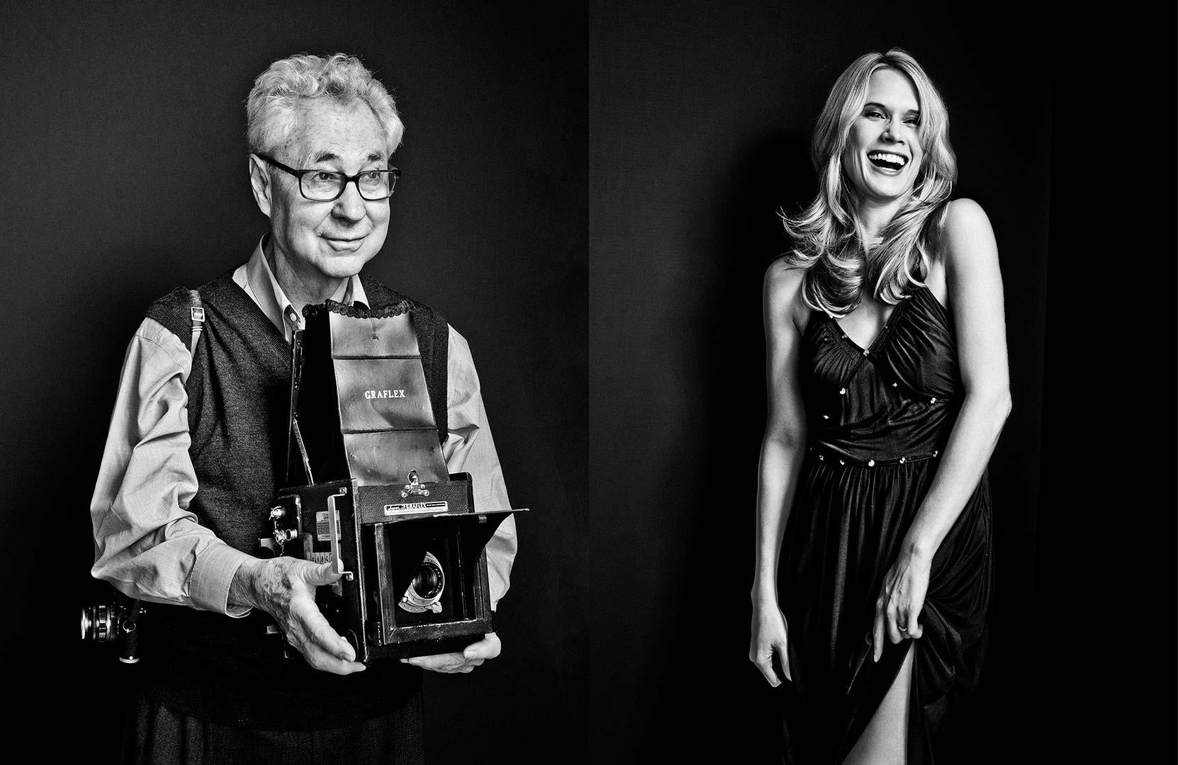 black & white portraits of Elliott Erwitt and Stephanie March