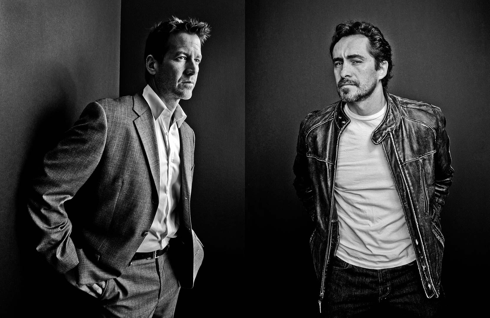 black & white portrait photography of actors James Denton and Demian Bichir