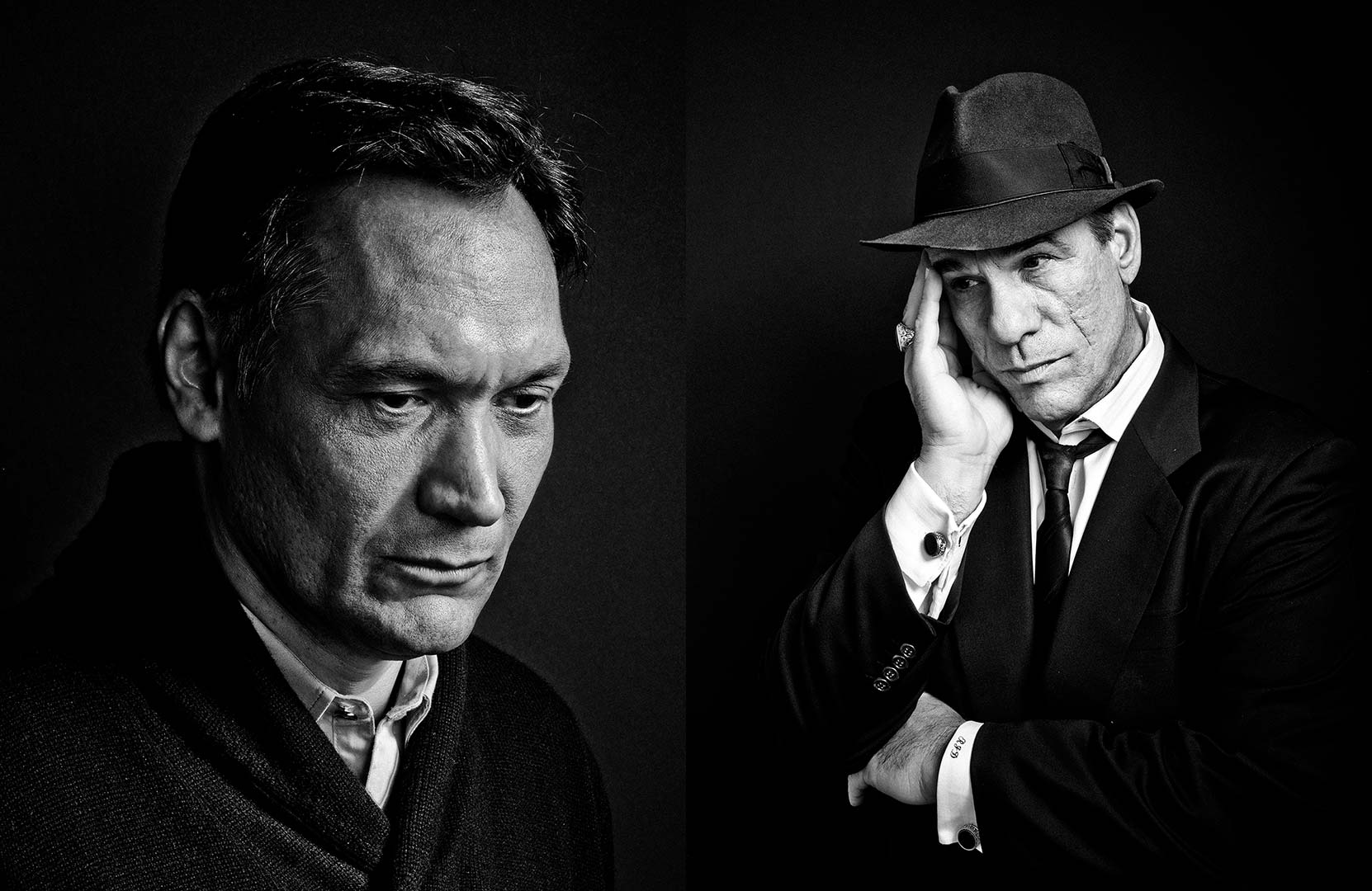 black & white portrait photography of actors Jimmy Smits and Robert Davi