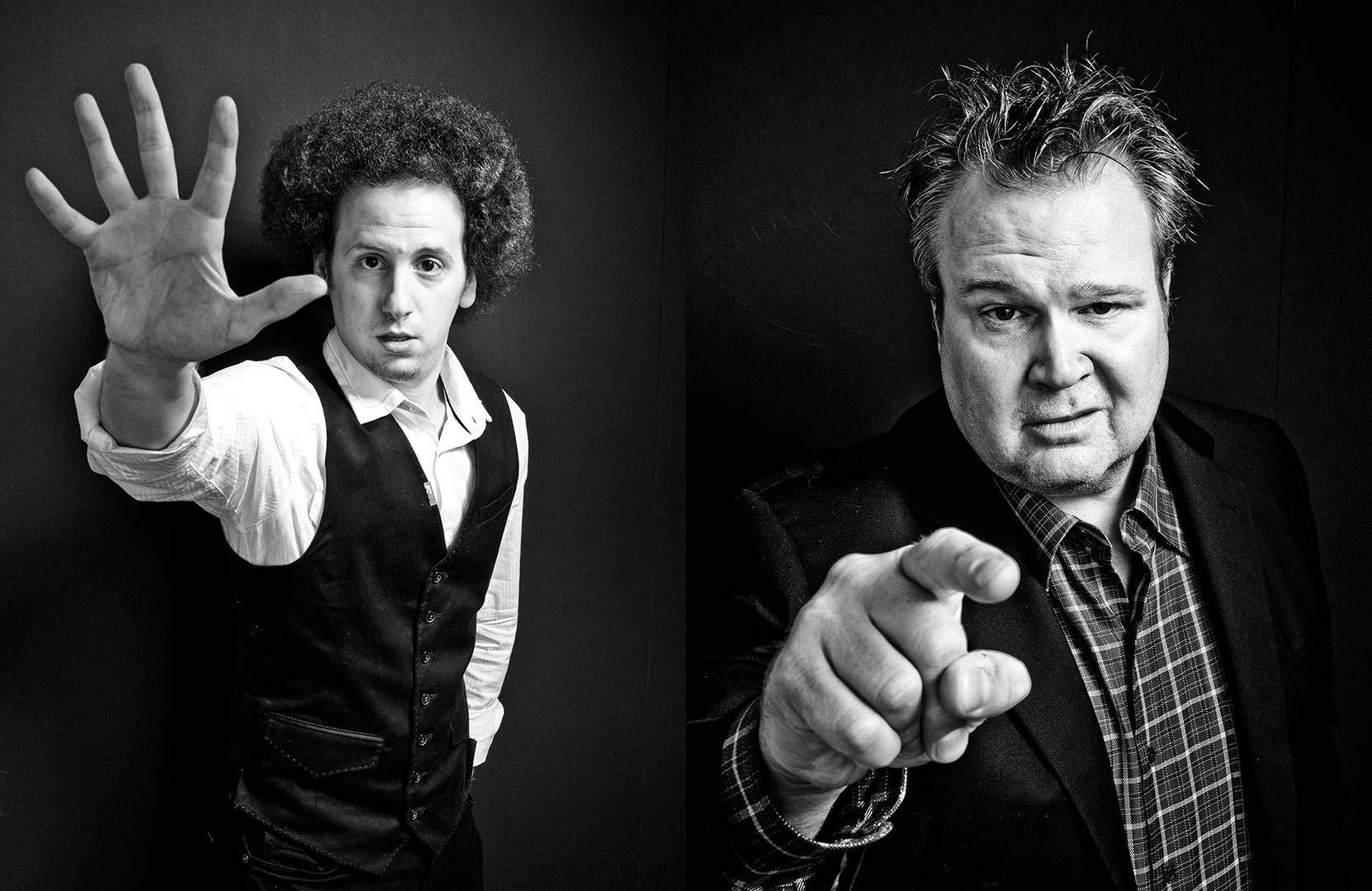 black & white portraits of actors Josh Sussman and Eric Stonestreet
