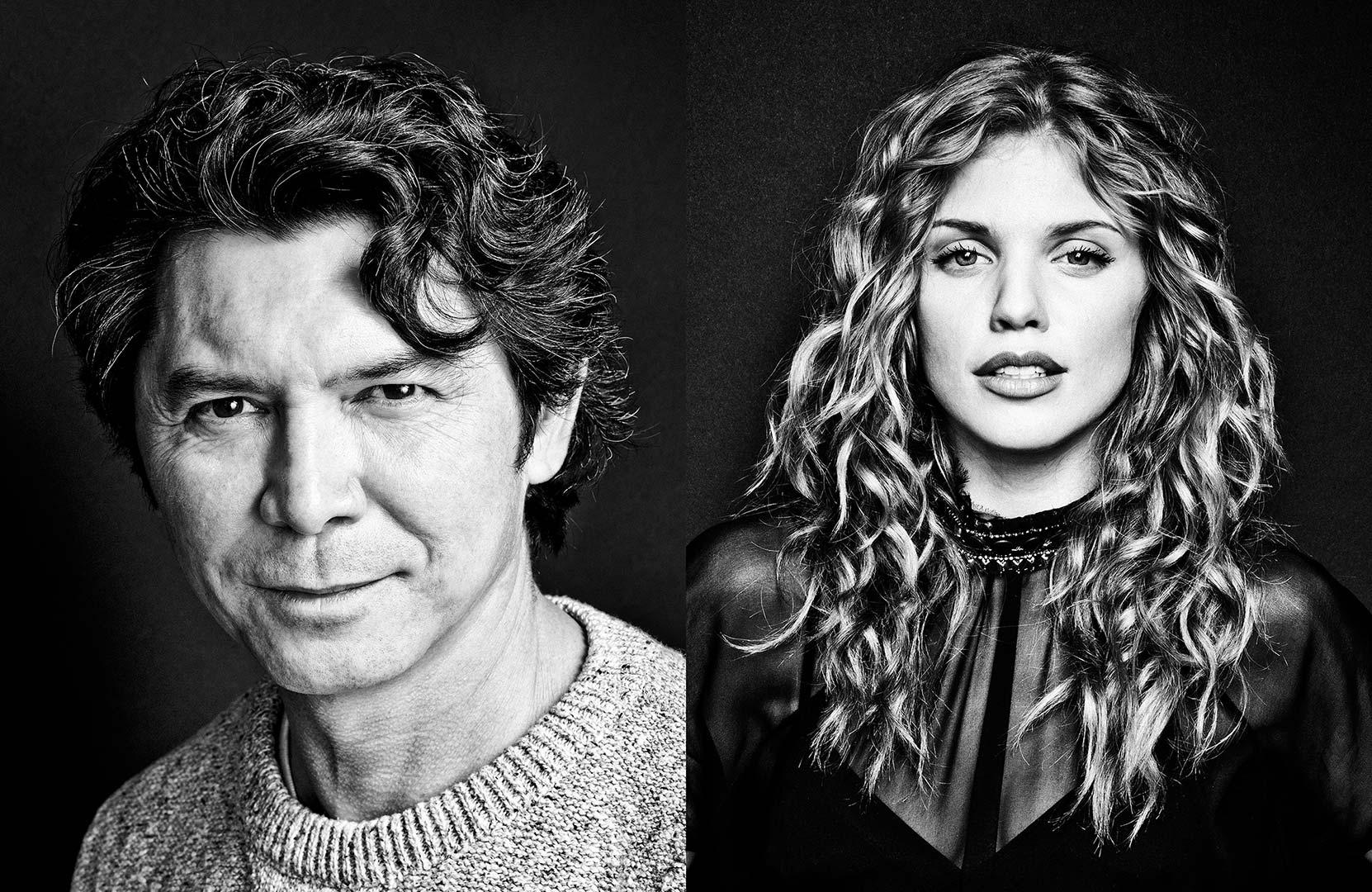black & white portraits of actors Lou Diamond Phillips and Annalynne McCord