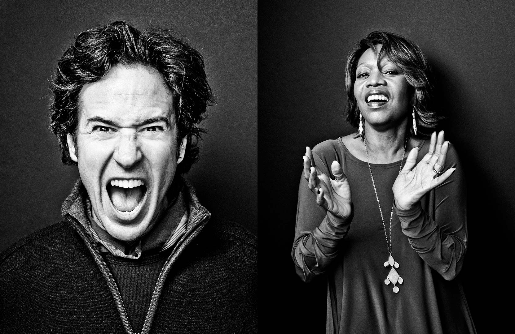 black & white portraits of actors Rob Morrow and Alfre Woodard