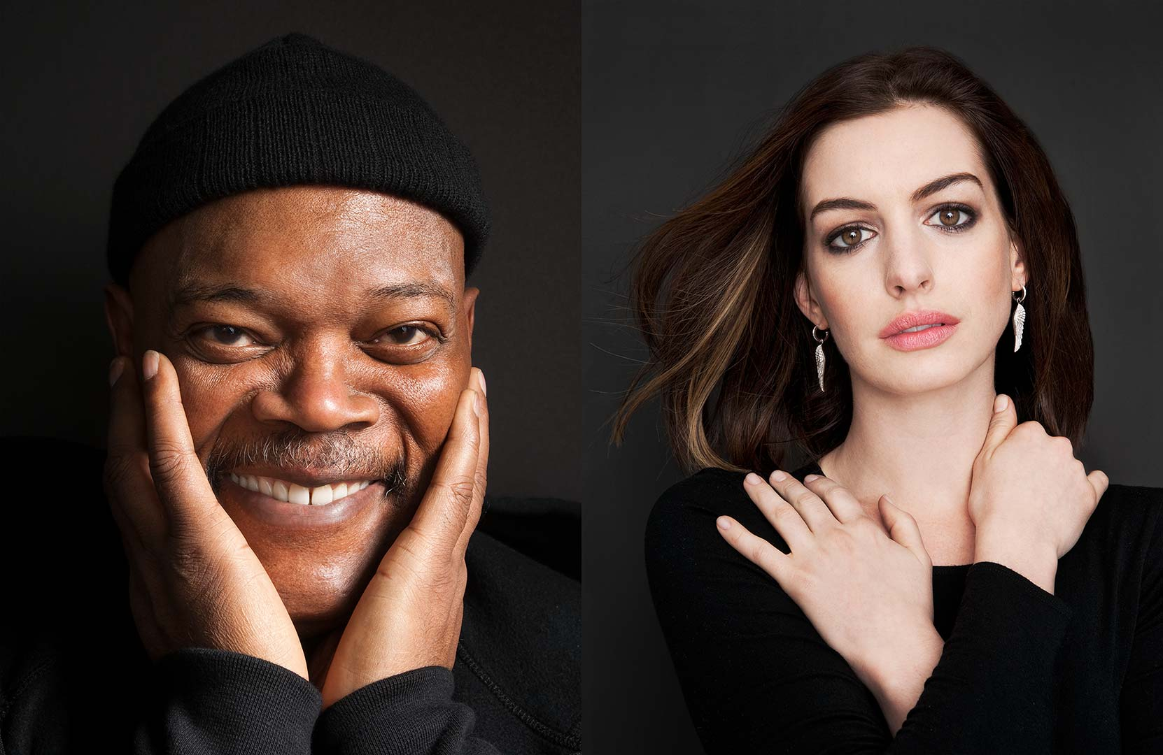 Celebrity portrait photography of Samuel L Jackson and Anne Hathaway
