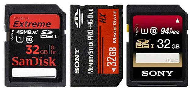 SanDisk Sony Memory Stick Sony SDHC