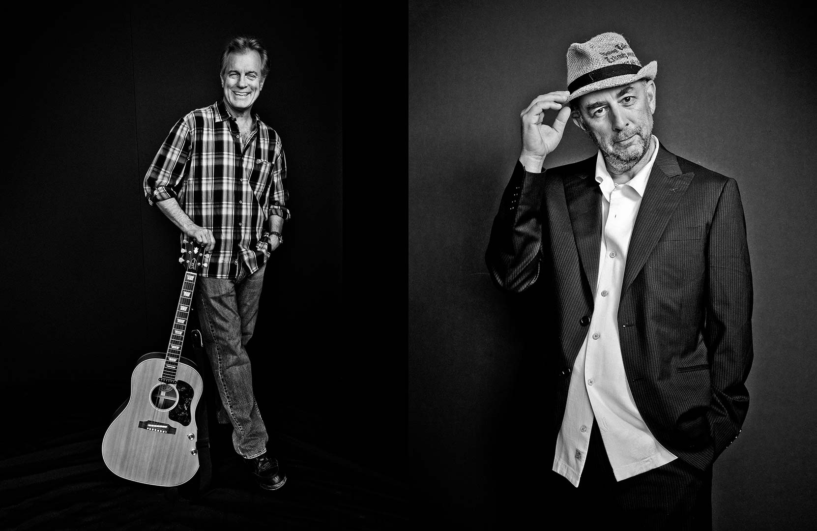 black & white portraits of actors Stephen Collins and Richard Schiff