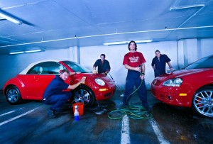 Corporate photography of Advertising Agency Crispin Porter + Bugosky washing VWs
