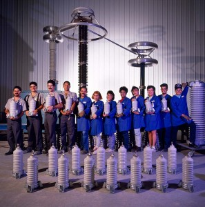Corporate photography of General Electric work group portrait in factory