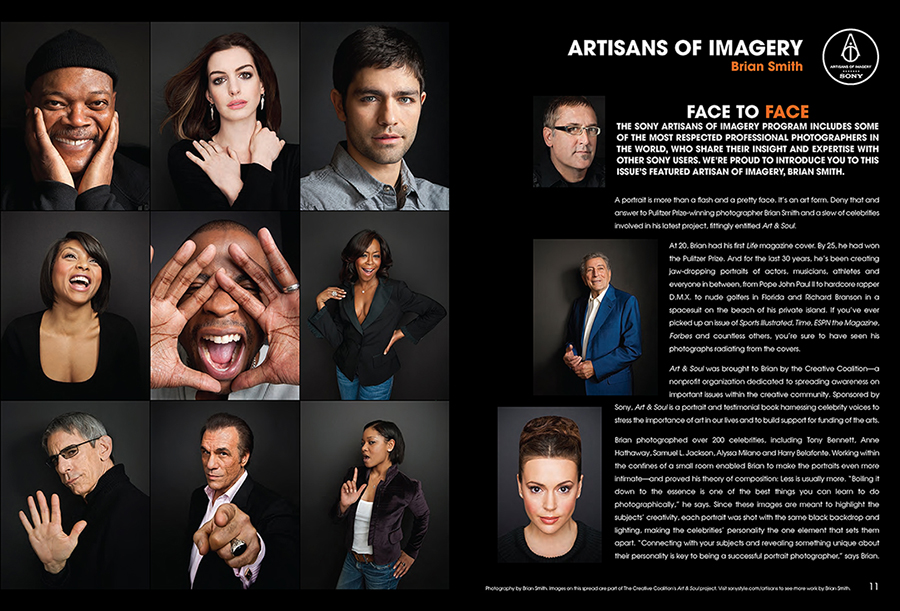 Celebrity Portrait Photographer Brian Smith featured in Inside Edge magazine