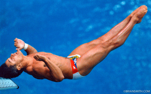 sports photography of Greg Louganis hitting head on the diving board Seoul Olympics