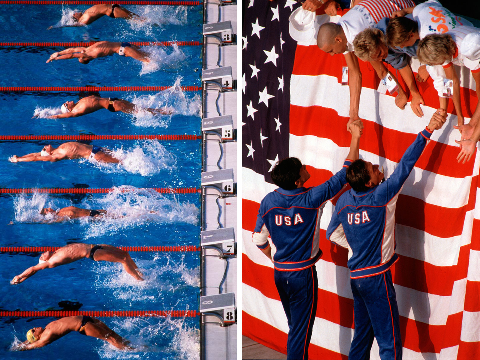 Swimmers leave the blocks at the start of a backstroke race at the 1984 Los Angeles Olympics. This image was part of an enry that was awarded the 1985 Pulitzer Prize for Spot News Photography