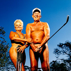 portrait photographs of nude golfers and nudist golf