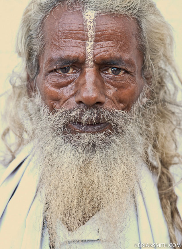 Portrait of Nepal holy man photographed in Kathmandu with Sony CZ 135 1.8