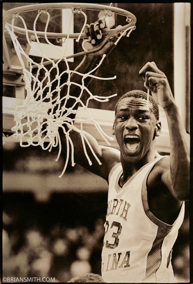 Michael Jordan cuts down net after North Carolina 1982 NCAA Championship