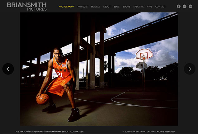 Brian Smith Pictures wins athlete portrait photography website design award
