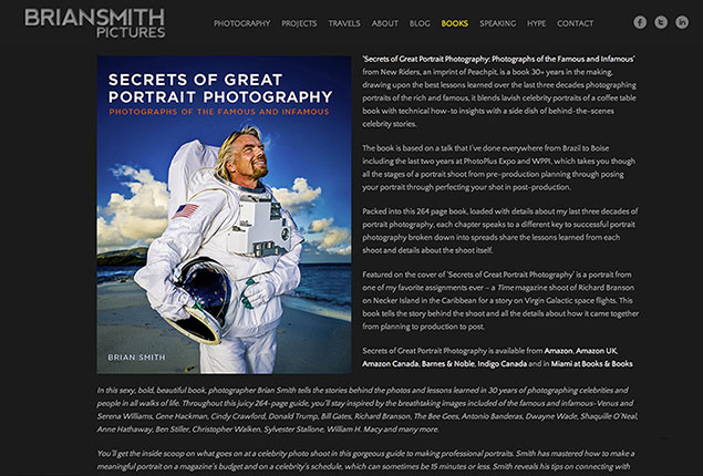 Brian Smith Pictures wins website design award list of photo books