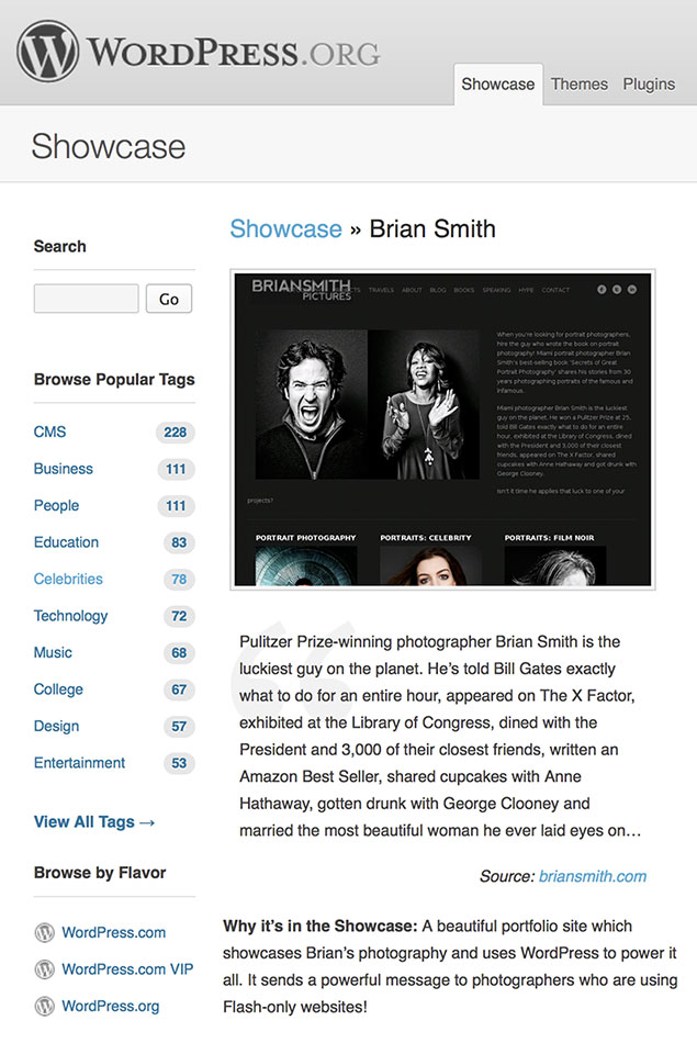 WordPress Showcases Brian Smith Pictures Website