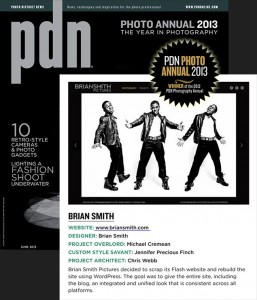 Brian Smith wins PDN Award for photography website design