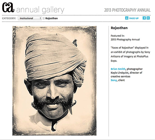 Brian Smith wins Communication Arts Photo Annual 2013 'Faces of Rajasthan'