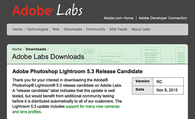 Adobe Lightroom 5.3 support for Sony A7 and A7R